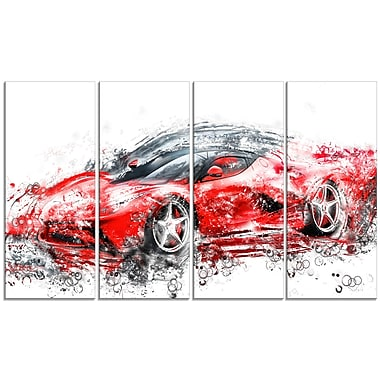 Designart Sleek Red Sports Car, 4 Piece Gallery-Wrapped Canvas, (PT2636-271)