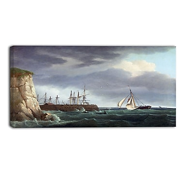 Designart Thomas Whitcombe, A Ship Running Into Harbour Canvas Art Print, (PT4972-32-16)