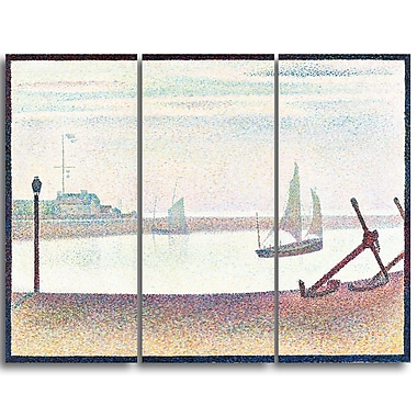 Designart Georges Seurat, The Channel at Gravelines, Evening Canvas Art Print, (PT4430-3P)
