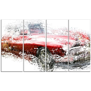 Designart Red Classic Luxury Car Large Gallery Wrapped Canvas, (PT2620-271)