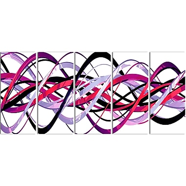 Designart Pink and Purple Helix 5-Panel Modern Canvas Art Print, (PT3044-401)