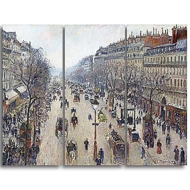 Designart – Tableau paysage imprimé sur toile, Le Boulevard Montmartre de Camille Pissarro (PT4194-3P)
