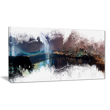 Designart Bridge to the City Cityscape Canvas Art Print, (PT3316-40-20)