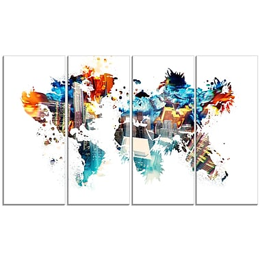 Designart Colour My World Map Canvas Art Print, (PT2725-271)