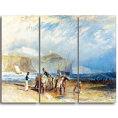 Designart JMW Turner, Folkestone Harbour and Coast to Dover Sea & Shore Canvas Art Print, (PT4605-3P)