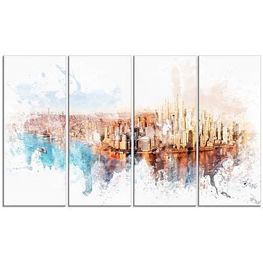 Designart – Impression sur toile, paysage urbain avec lever de soleil sur rivière, 4 panneaux (PT3303-271)