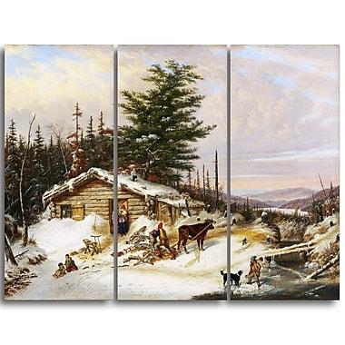 Designart Cornelius Krieghoff, Settlers Log House Landscape Canvas Arwork, (PT4274-3P)