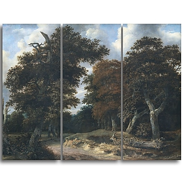 Designart Jacob Isaacksz, Road through an Oak Forest Canvas Art Print, (PT4519-3P)
