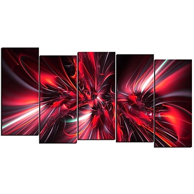 Designart Red Implosion 5-Panel Modern Canvas Art Print, (PT3032-1084)