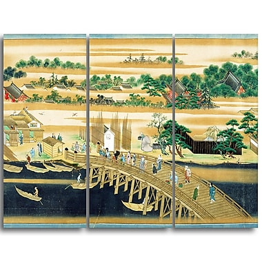 Designart Sumiyoshi, Famous Sites of the Sumida River Large Asian Canvas Art, (PT4929-3P)