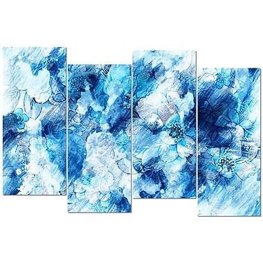 Designart – Art imprimé sur toile, fleurs bleues abstraites, 4 panneaux (PT3411-2-271)