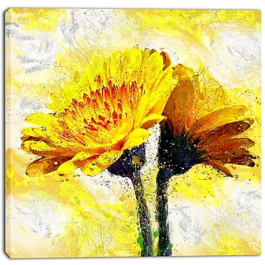 Designart Pair of Yellow Flowers Floral Canvas Art Print, (PT3440-30-30)