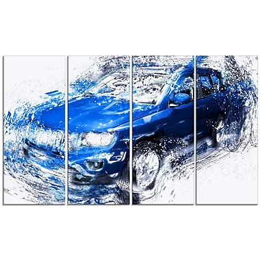 Designart Blue Tuner Car, 4 Piece Gallery-Wrapped Canvas, (PT2645-271)