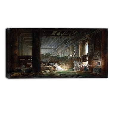 Designart Hubert Robert, Praying in the Ruins of a Roman Temple Canvas Art Print, 3 Panels, (PT4506-32-16)