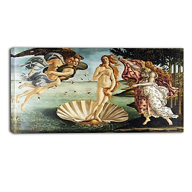 Designart Sandro Botticelli, The Birth of Venus Canvas Art Print, (PT4918-32-16)
