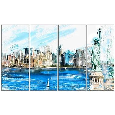 Designart Ellis Island Landscape Large Americana Canvas Art Print, (PT2806-271)