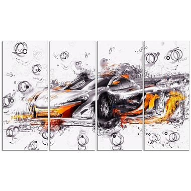Designart Black and Orange Exotic Car, 4 Piece Gallery-Wrapped Canvas, (PT2628-271)