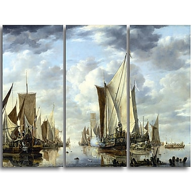 Designart Jan van de Cappelle, Shipping in a Calm at Flushing Canvas Art Print, (PT4555-3P)