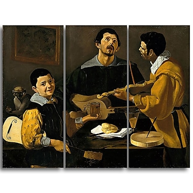 Designart Diego Velazquez, The Three Musicians Canvas Art Print, (PT4298-3P)