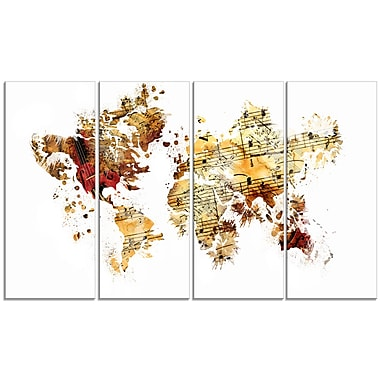 Designart Brown and Beige Map Canvas Art Print, (PT2735-271)