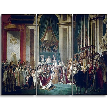 Designart Jacques Louis David, Coronation of Emperor Napoleon I Canvas Art Print, (PT4537-3P)