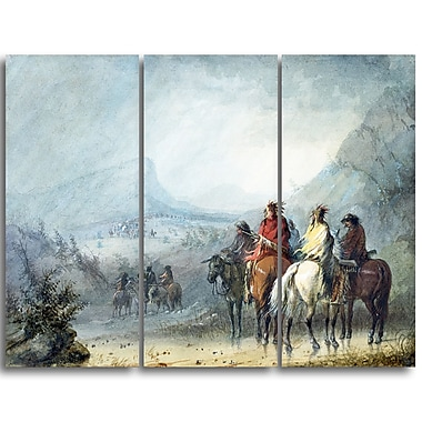 Designart Alfred Jacob Miller, Waiting for the Caravan Large Landscape Canvas Art Print, (PT4126-3P)