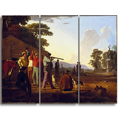 Designart George Caleb Bingham, Shooting for the Beef Landscape Canvas Art Print, (PT4412-3P)