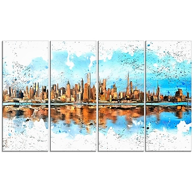 Designart City in America 4-Panel Cityscape Canvas Art Print, (PT3311-271)