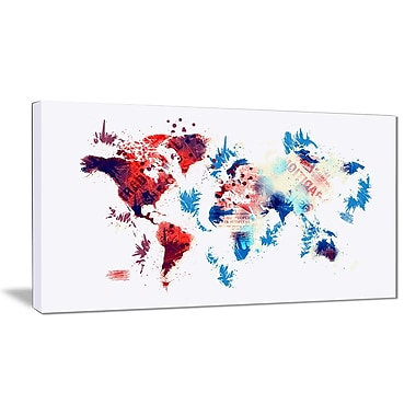 Designart Red and Blue Map Canvas Art Print, (PT2716-32-16)
