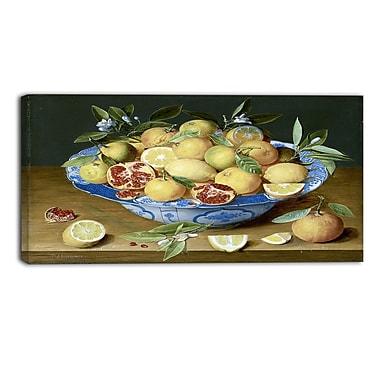 Designart Jacob van Hulsdonck, Still Life with Lemons Canvas Art Print, 4 Panels, (PT4525-40-20)