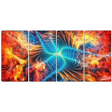 Designart – Imprimé sur toile, moderne, Feu électrique, 4 panneaux (PT3035-271)