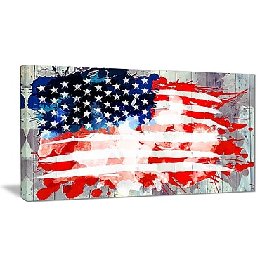 Designart Abstract US Flag, Canvas Art, (PT2825-32-16)