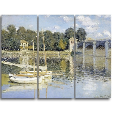 Designart Claude Monet, The Argenteuil Bridge Canvas Art Print, (PT4269-3P)