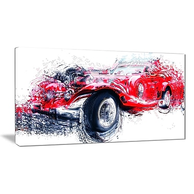Designart Red Vintage Classic Car Canvas Art Print, (PT2653-32-16)