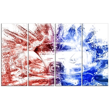 Designart Red and Blue Car Art Large Gallery Wrapped Canvas, (PT2607-271)