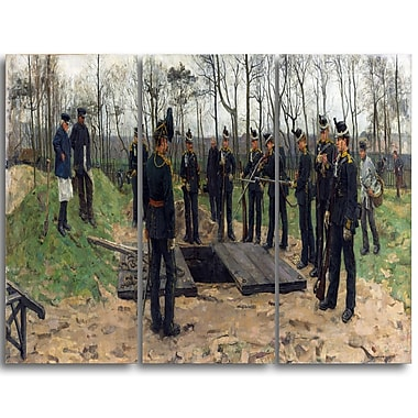 Designart Isaac Israels, Military Funeral Lansdcape Artwork, (PT4512-3P)