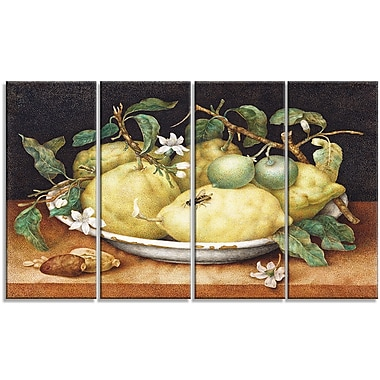 Designart Giovanna Garzoni, Still Life with Bowl of Lemons Canvas Art Print, 4 Panels, (PT4444-271)