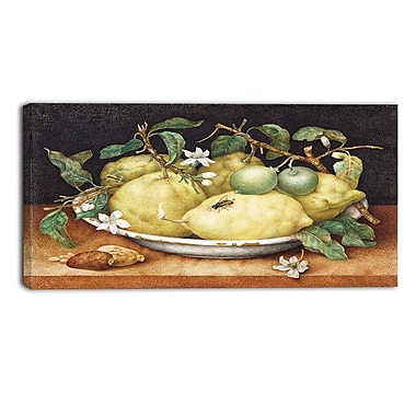 Designart Giovanna Garzoni, Still Life with Bowl of Lemons Canvas Art Print, 4 Panels, (PT4444-32-16)