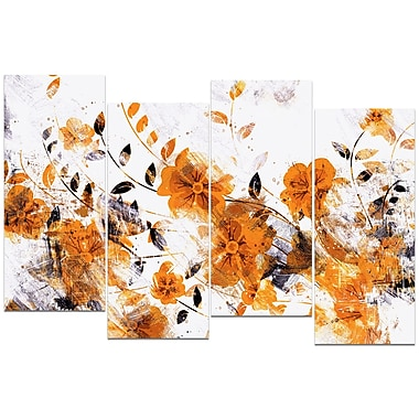 Designart Dark Yellow Flower Trail 4-Panel Canvas Art Print, (PT3409-3-271)