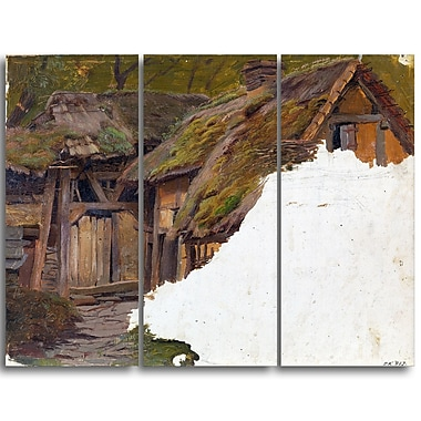Designart Adolph Tideman, Study of an Old Farm Canvas Art Print, 3 Panels, (PT4101-3P)