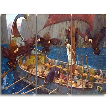 Designart John William Waterhouse, Ulysses and the Sirens Canvas Art Print, (PT4663-3P)