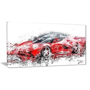 Designart – Voiture élégante de sport rouge, imprimé sur toile (PT2636-32-16)