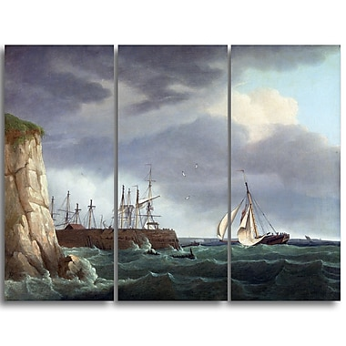 Designart Thomas Whitcombe, A Ship Running Into Harbour Canvas Art Print, (PT4972-3P)