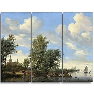Designart – Toile imprimée de Salomon Van Ruysdael, paysage de bord de rivière avec un voilier (PT4910-3P)