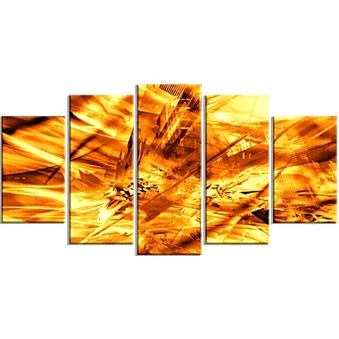 Designart Yellow Sandstorm 5-Panel Modern Canvas Art Print, (PT3080-373)