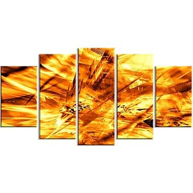 Designart – Impression moderne sur toile, tempête de sable jaune, 5 panneaux (PT3080-373)