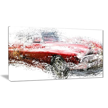 Designart Red Classic Luxury Car Small Gallery Wrapped Canvas, (PT2620-32x16)