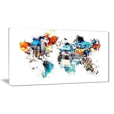 Designart – Carte du monde en couleurs, imprimé sur toile (PT2725-32-16)