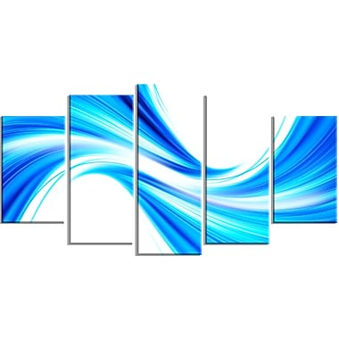 Designart Peaceful Blue Flowing Through 5-Panel Modern Canvas Art Print, (PT3072-373)