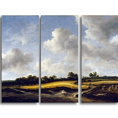 Designart Jacob van Ruisdael, Landscape with a Wheatfield Canvas Art Print, (PT4529-3P)